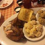 BBQ Chicken W/Potato Casserole and Fried Okra