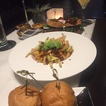 Dining at the Vdara Lounge - Sliders, Chicken & Waffles & Fries
