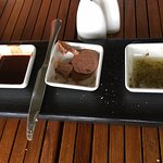 Bread dipping sauces - chocolate, chocolate butter, and olive oil/hazelnut