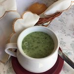 Cream of Spinach Soup, Bread Basket
