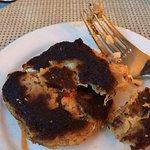 Burned crab cake.