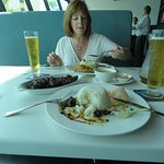 Mrs tucking in. We both had good meals