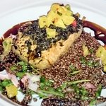 A delicious juicy must try! Salmon, Arugula , Balsamic vinegar and Quinoa,