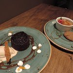 Sticky ginger pudding and creme brulee