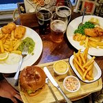 veggie burger and vegetarian fish & chips (partially eaten!)