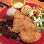 BBQ beef and fried fish with macaroni salad, green salad, and a scoop of rice