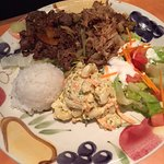 BBQ beef and Kalua pork with macaroni salad, green salad, and a scoop of rice