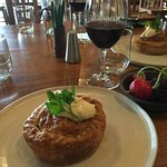 Delicious beef cheek pie with tasty sides