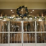 Welcoming entrance decorated for the holidays