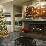 Cozy lobby decorated for the holidays