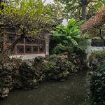 One of the many ponds and buildings you'll come across in the Yu Gardens.