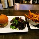 Western burger, salad and fries