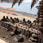 Beach art on Los Cristianos Beach, South Tenerife