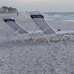 Lounge chairs for hotel guest out when turtle season is not taking place.