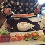 Delicious ikura with quail egg sashimi and very nice toro too.