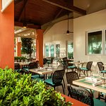 Outdoor tiki terrace, perfect for any meal or group event.