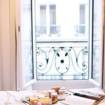 View from the juliet balcony and delicious room service.