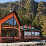 The Guest Lodge sits on the beach right by the ocean in Beautiful Resurrection Bay.