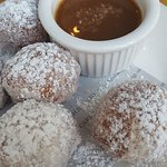 donut holes with dipping sauce