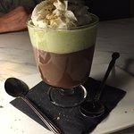 Dark chocolate and pistachio pudding
