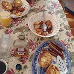 One of the breakfasts we were served. French toast, potatoes, sausage, coffee, juice YUM