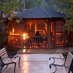 Creekside gazebo with fireplace is a great way to end your evening.