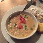 Lobster Corn Chowder, good flavor