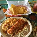 Daily Lunch Special $4.75 includes beef enchilada, beans, rice, and warm tortilla chips/salsa.
