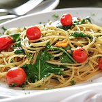 Spaghetti AOP pomodori e rucola