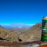 "Maluti, the local beer in Lesotho, and the view from on top. Taken at the ""Highest Pub in Africa"