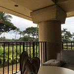 Love the lanai to relax.  Table for 5 with a beautiful sunset, ocean view.