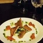 Perfect bass with a shrimp samosa, herby pesto and the freshest tomato salsa, mmmmmh!