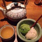 Green tea ice cream, tea, other dishes