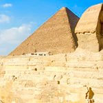 The Great Sphinx is a large human-headed lion that was carved from a mound of natural rock. It i