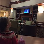 Hot coco bar set up for kids when we walked in, and Frozen playing by the fireplace. Wow! This h