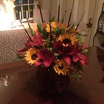 Beautiful fall flowers in the dining area