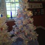 The Christmas tree room with handmade glass ornaments