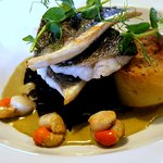 Grilled Seabass Fillets & King Scallops, Lemon Scented Fondant Potato, Garden Pea & Mint Reducti