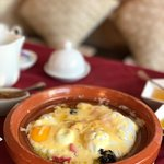 Best brekkie ever in Morocco! ~ Olives, homemade Amlou (Delicious), Argon & olive oil, Egg tagin