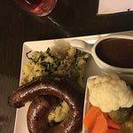 Wild Boar & damson sausage ring with bubble & sqeak, veg & gravy