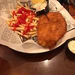 Meatloaf dinner and Fish & Chips