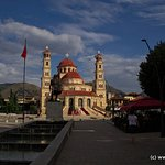 Cathedral of Korce, just behind is the Guesthouse