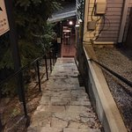 Stairs down to restaurant