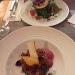 Goat cheese salad and salmon tartare.