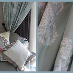 Beautiful soft furnishings in room.