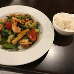 Jumbo shrimp and mixed vegetable stir fry