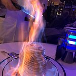 Baked Alaska being flamed. WOW!