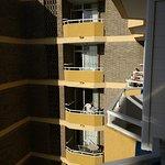Balconies overlook other rooms