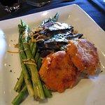 Grilled Portobello with Fresh Asparagus, Sweet Potato Cakes and Quinoa-Brown Rice Salad