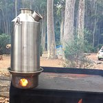Making a brew over the camp fire.